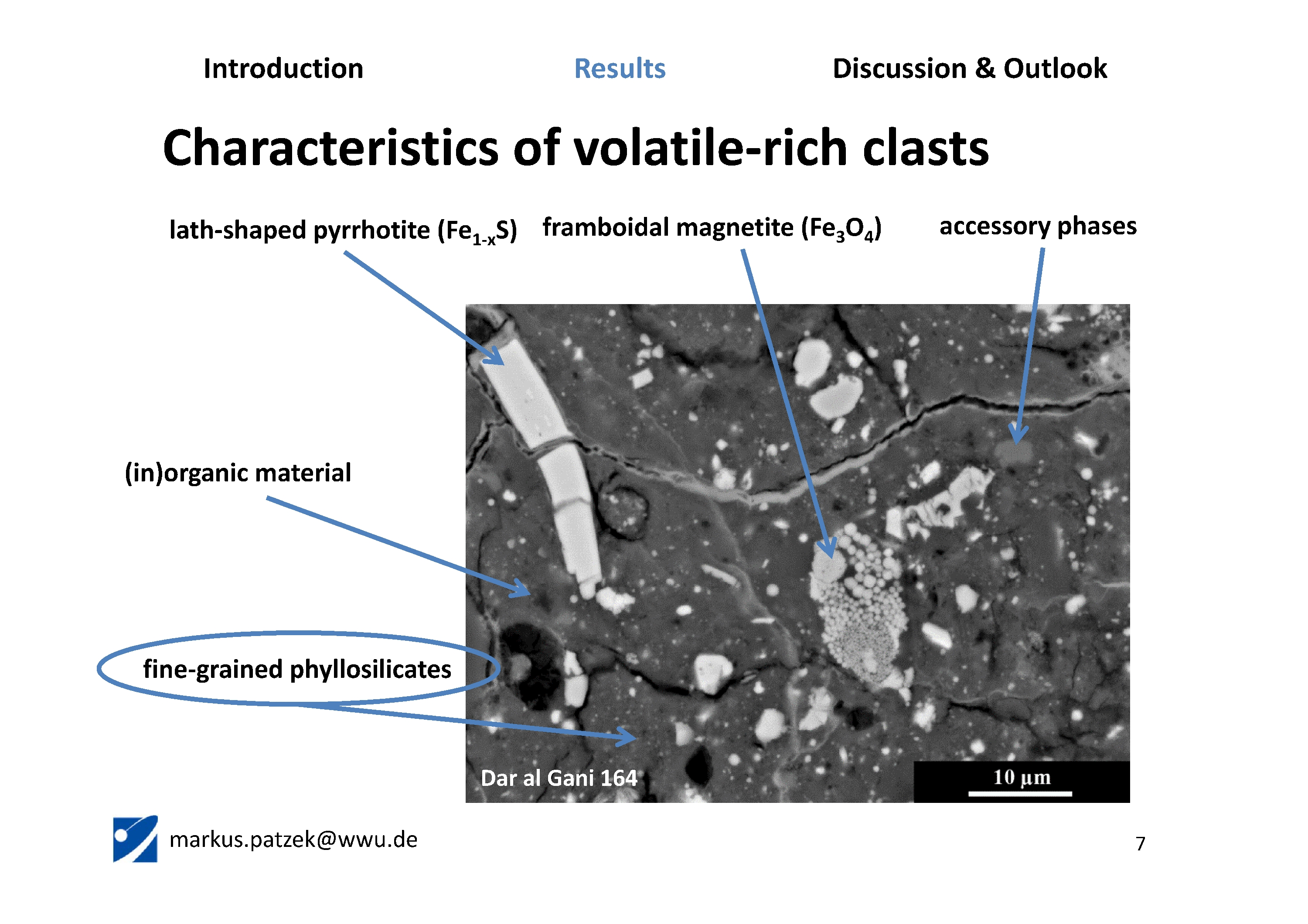 Characteristics of volatile-rich clasts (CI-like)